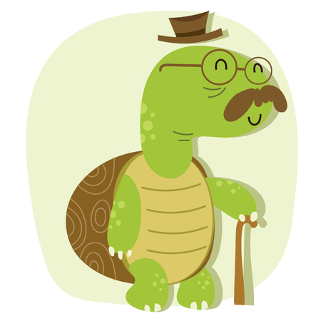 Cartoon old turtle with hat and cane