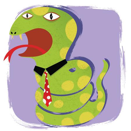 Cartoon snake wearing tie