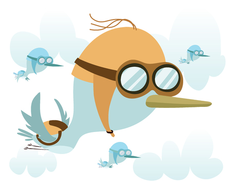 migrate: Cartoon funny migrate bird with Aviator helmet Illustration