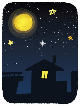 vector  illustration of full moon night