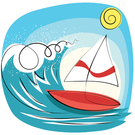 Cartoon sailboat sailing in the sea