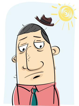Cartoon man going to work in bad morning Ilustração