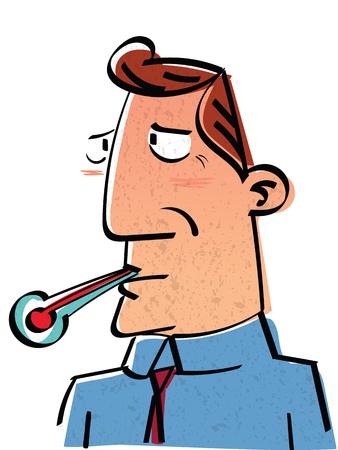 Cartoon sick businessman but still have to go to work.
