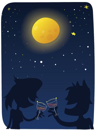 Cartoon couple drinking wine in full moon night Ilustração