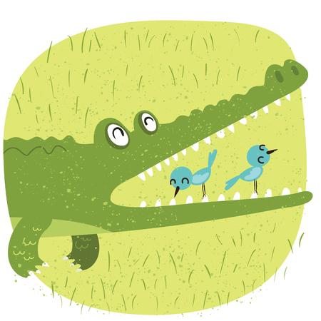 Cartoon relationship between crocodile and bird Stock Illustratie