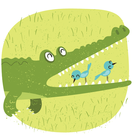 Cartoon relationship between crocodile and bird Иллюстрация