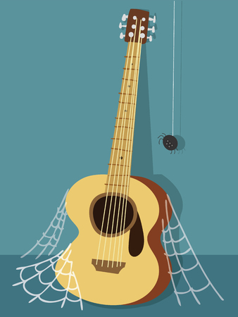 Cartoon illustration of old guitar with spider web