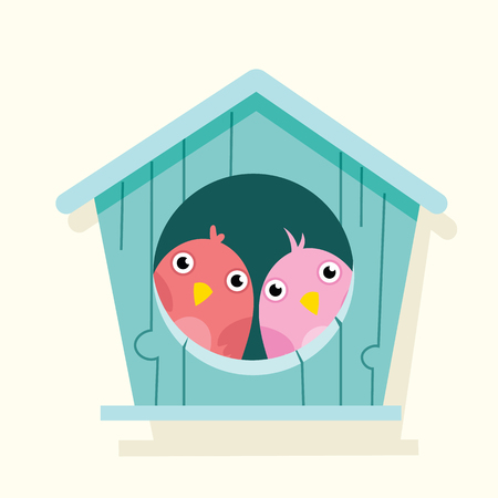 Cartoon cute illustration of  bird in birdhouse