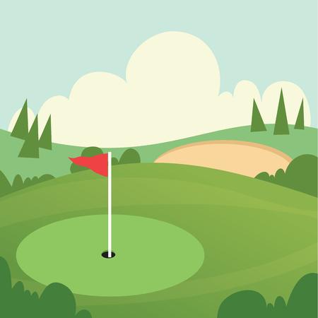 Cartoon illustratie van golfbaan