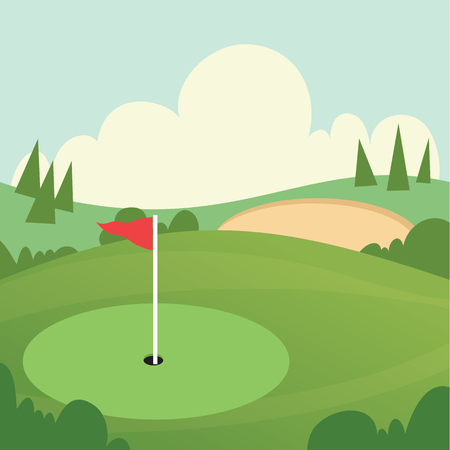 Cartoon illustration of Golf course
