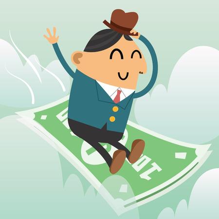cartoon smiling businessman riding money Ilustração