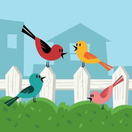 cartoon bird in backyard illustration