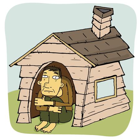 cartoon man in very narrow house