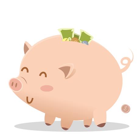 cartoon smile fat piggy bank Ilustração