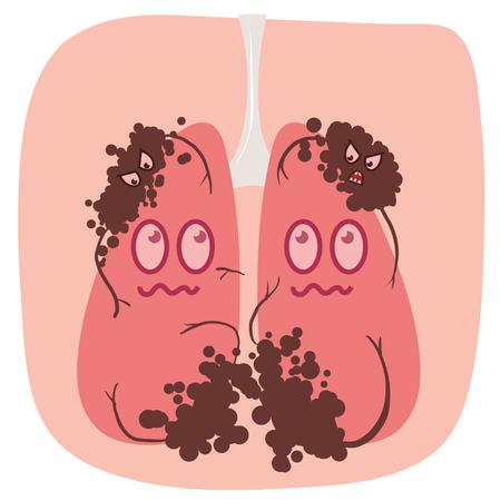 cartoon lung cancer illustration Ilustração