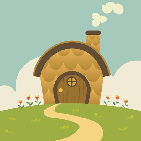 cartoon lovely small house Ilustração
