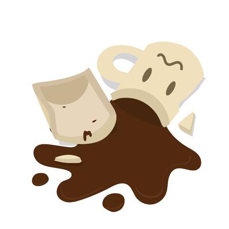 Cartoon illustration of broken coffee mug.
