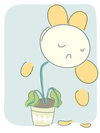 Cartoon illustration of sad withered flower.
