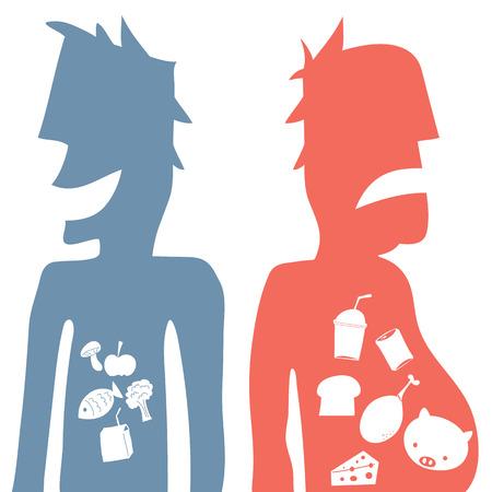 Cartoon illustration of good and bad eating.