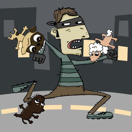 Cartoon illustration of dog attack thief.