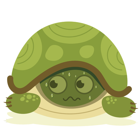 Cartoon illustration of scared turtle hiding. Иллюстрация
