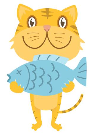 Cartoon illustration of happy kitten with fish.