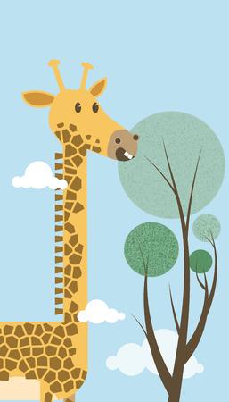 cartoon tall giraffe with tree Ilustração
