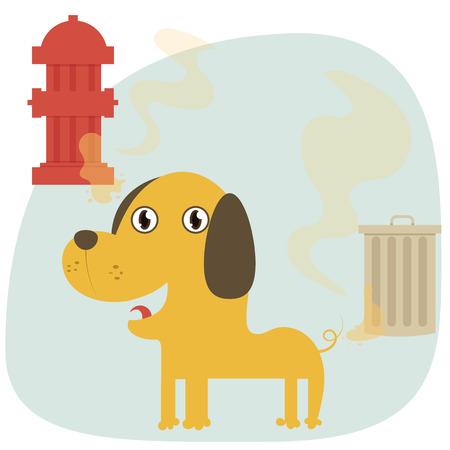cartoon funny dog peeing