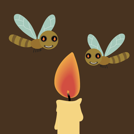 cartoon attracted to light flying around candle