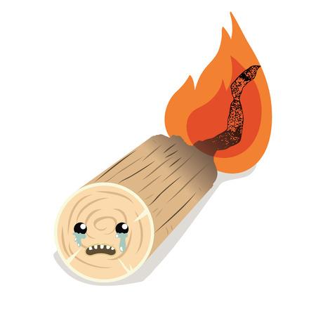 cartoon crying burned firewood