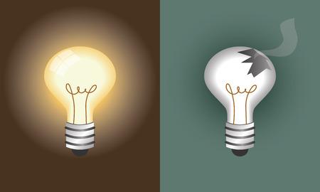 glowing light bulb and broken light bulb Ilustração