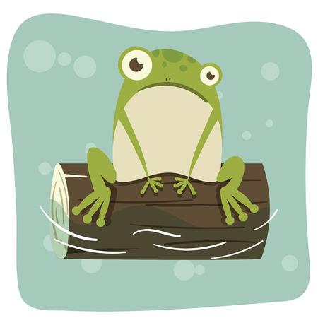 cartoon frog on the log