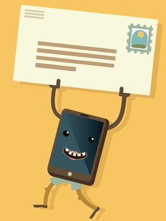 Ccartoon smart phone  lift a  mail