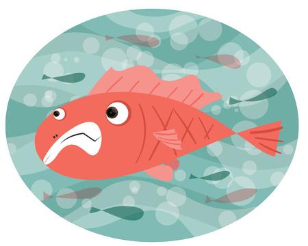 Cartoon fish Swim,ing against the tide