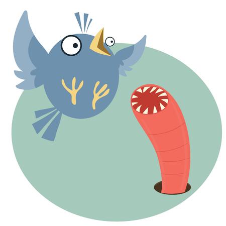 Cartoon bird with scary worm Ilustração
