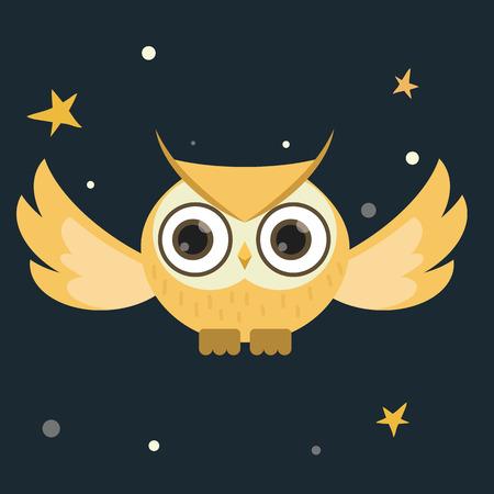 Cartoon owl flying at night