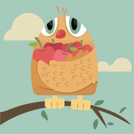 Cartoon bird with a lot of fruits