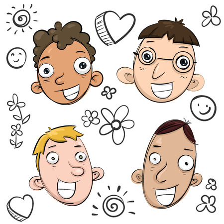 cartoon smile faces doodle