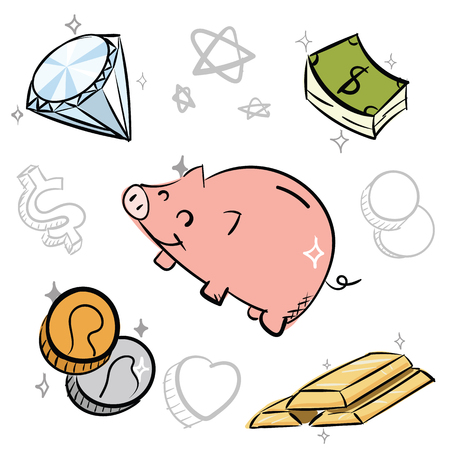 cartoon hand drawn money doodle