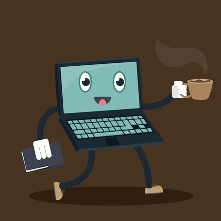 cartoon computer work as a secretary Ilustração