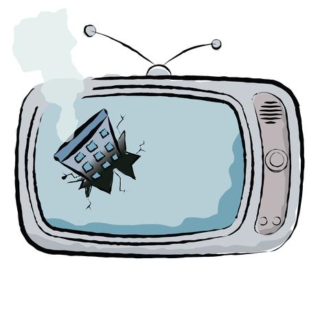 tv broken by remote control vector illustration