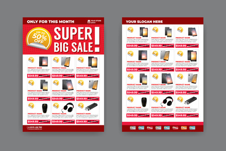 Plantilla de volante de 2 lados para promoción de venta con imágenes de productos de muestra, para tamaño de papel A4 Ilustración de vector