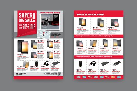 Plantilla de volante de 2 caras para promoción de venta con imágenes de producto de muestra, para papel A4 de 3 mm. área de sangrado, color CMYK, fuente libre utilizada, EPS 10
