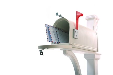 Open the mailbox with letters on white background