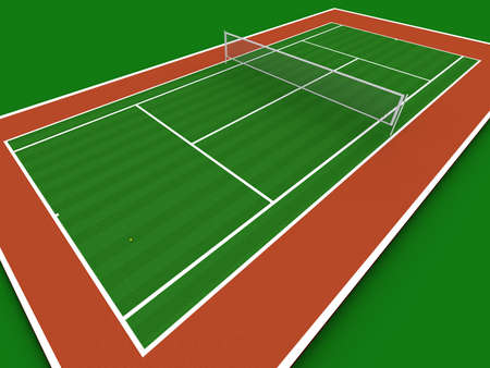 Tennis court in perspective Stock Photo