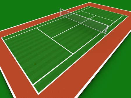 terrain: Tennis court in perspective Stock Photo