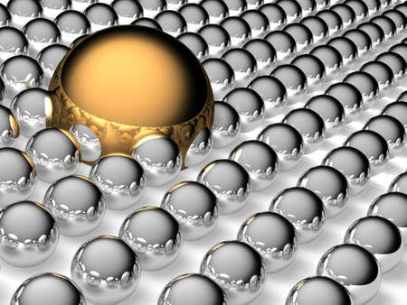 steel balls: Big gold and small steel balls Stock Photo