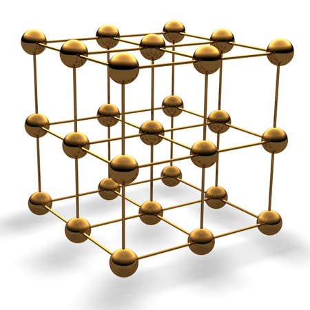 neutron: Cube from gold balls Stock Photo