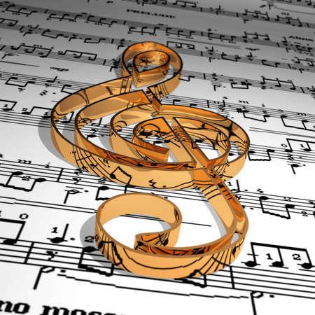 Gold music symbol & Music sheet