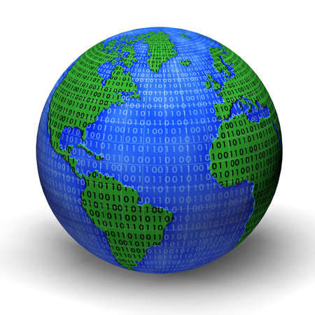 Digital world globe illustration. 3d model. Stock Photo